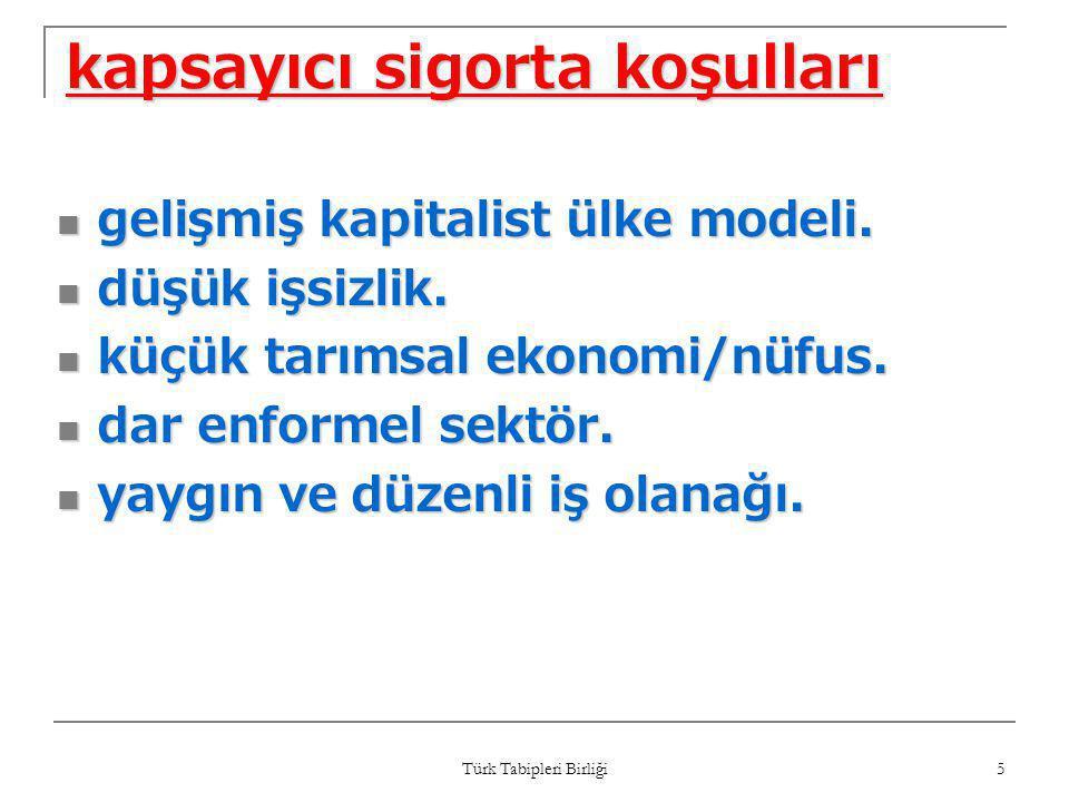 Türk Tabipleri Birliği 5 kapsayıcı sigorta koşulları  gelişmiş kapitalist ülke modeli.  düşük işsizlik.  küçük tarımsal ekonomi/nüfus.  dar enform