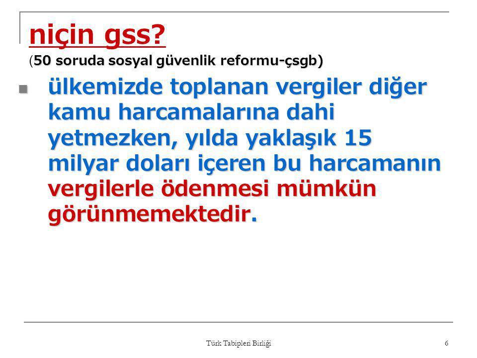 Türk Tabipleri Birliği 27 tespit-1  gss ile ilgili yapılan değişiklikler anayasa mahkemesi'nin iptal kararını yerine getirmediği gibi hiçbir ilgisi de yoktur.
