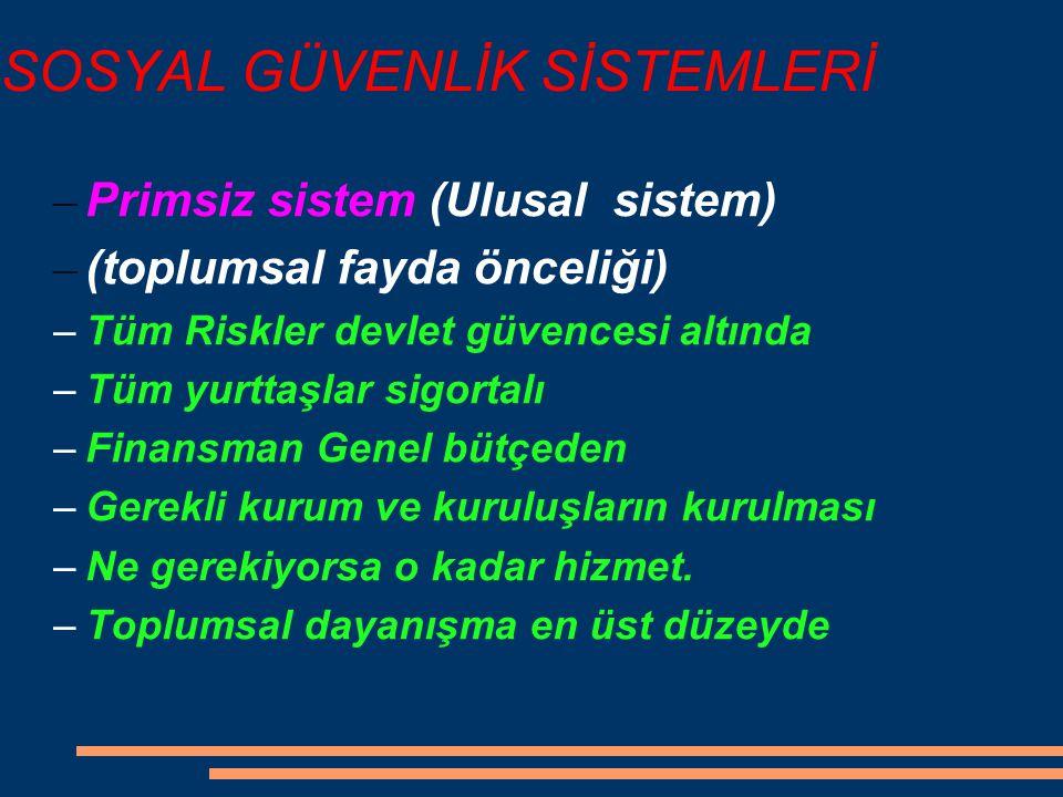 SOSYAL GÜVENLİK SİSTEMLERİ – Primsiz sistem (Ulusal sistem) – (toplumsal fayda önceliği) –Tüm Riskler devlet güvencesi altında –Tüm yurttaşlar sigorta