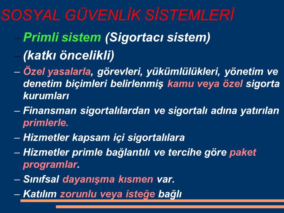 SOSYAL GÜVENLİK SİSTEMLERİ – Primli sistem (Sigortacı sistem) – (katkı öncelikli) –Özel yasalarla, görevleri, yükümlülükleri, yönetim ve denetim biçim