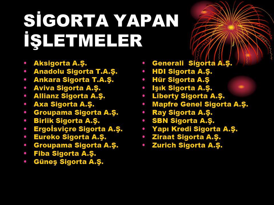 SİGORTA YAPAN İŞLETMELER •Aksigorta A.Ş.•Anadolu Sigorta T.A.Ş.