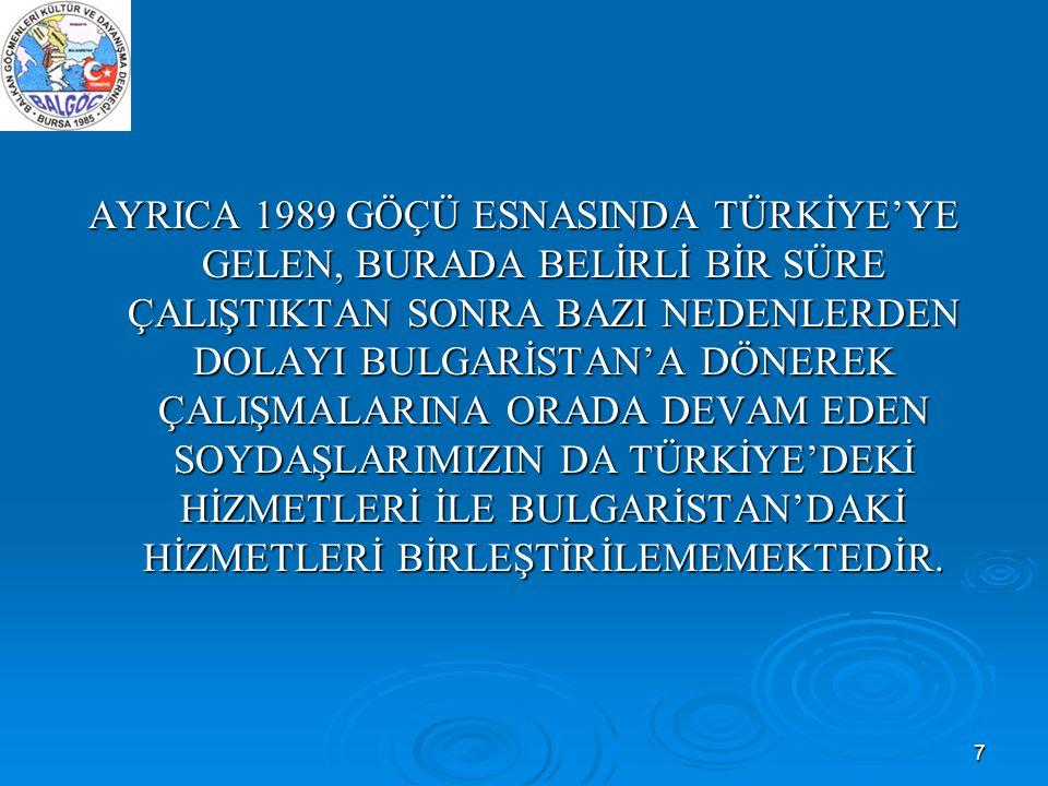 7 AYRICA 1989 GÖÇÜ ESNASINDA TÜRKİYE'YE GELEN, BURADA BELİRLİ BİR SÜRE ÇALIŞTIKTAN SONRA BAZI NEDENLERDEN DOLAYI BULGARİSTAN'A DÖNEREK ÇALIŞMALARINA O