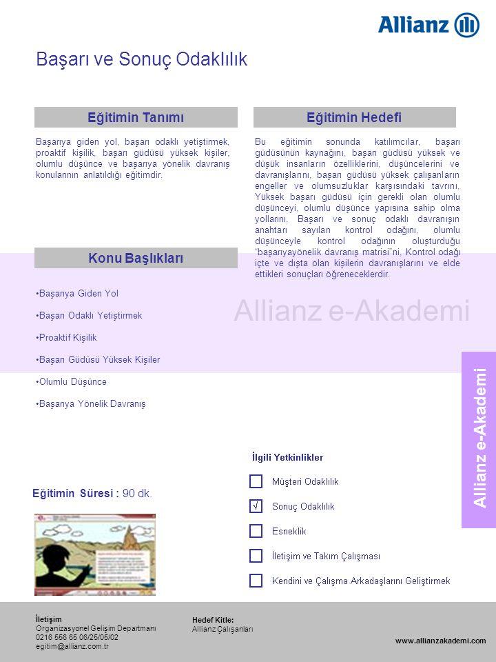 112 Allianz e-Akademi Başarı ve Sonuç Odaklılık Hedef Kitle: Allianz Çalışanları İletişim Organizasyonel Gelişim Departmanı 0216 556 65 06/25/05/02 eg