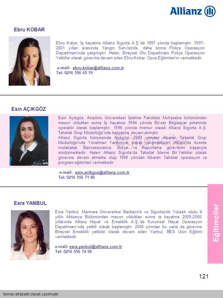 121 Eğitimciler İsimler alfabetik olarak yazılmıştır Eğitimciler Esra Yanbul, Marmara Üniversitesi Bankacılık ve Sigortacılık Yüksek okulu 4 yıllık Ak