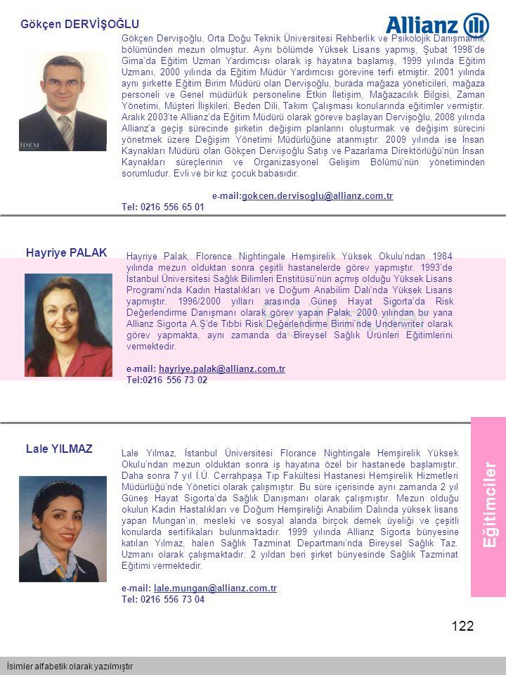 122 Eğitimciler İsimler alfabetik olarak yazılmıştır Eğitimciler Gökçen DERVİŞOĞLU Gökçen Dervişoğlu, Orta Doğu Teknik Üniversitesi Rehberlik ve Psiko