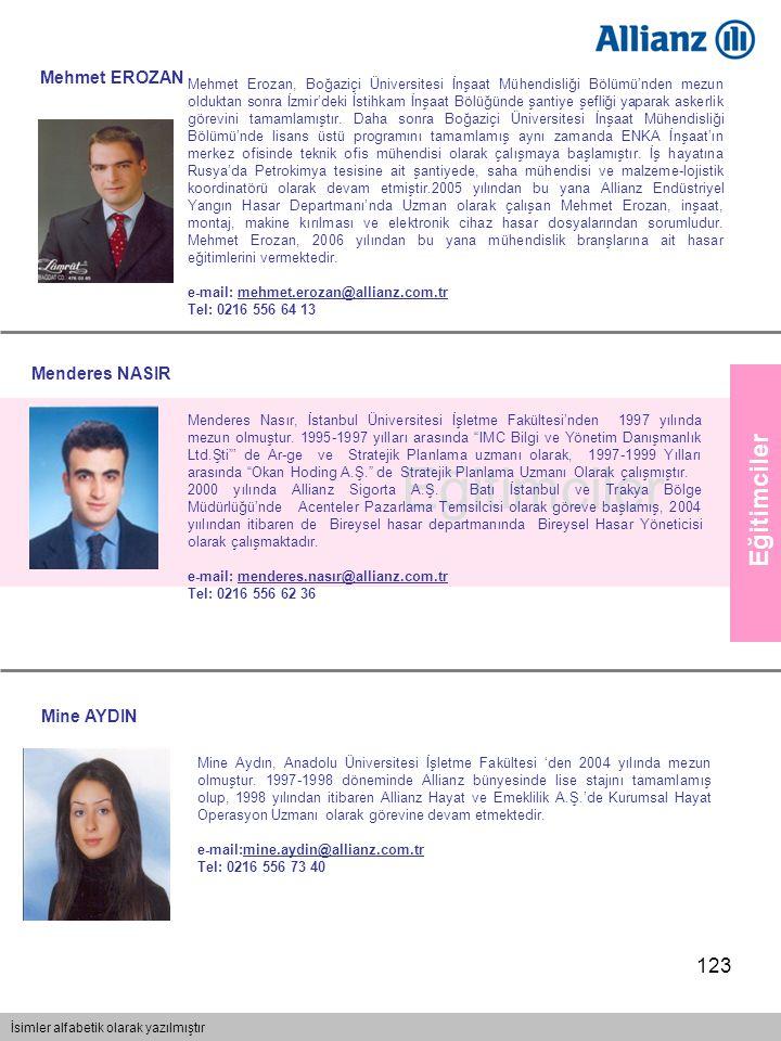 123 Eğitimciler İsimler alfabetik olarak yazılmıştır Eğitimciler Menderes NASIR Menderes Nasır, İstanbul Üniversitesi İşletme Fakültesi'nden 1997 yılı