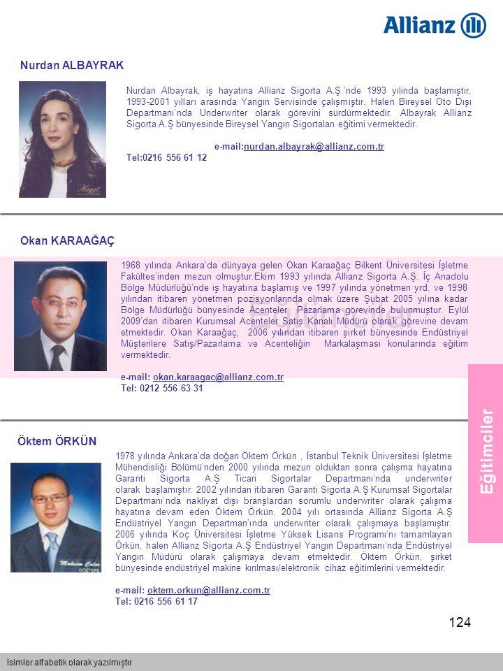 124 Nurdan Albayrak, iş hayatına Allianz Sigorta A.Ş.'nde 1993 yılında başlamıştır. 1993-2001 yılları arasında Yangın Servisinde çalışmıştır. Halen Bi