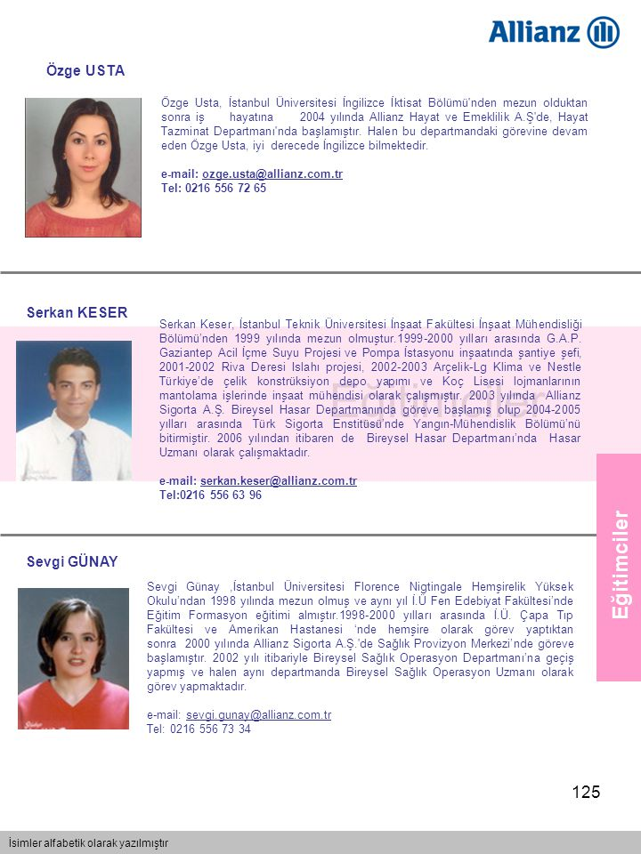 125 Eğitimciler İsimler alfabetik olarak yazılmıştır Eğitimciler Özge Usta, İstanbul Üniversitesi İngilizce İktisat Bölümü'nden mezun olduktan sonra i