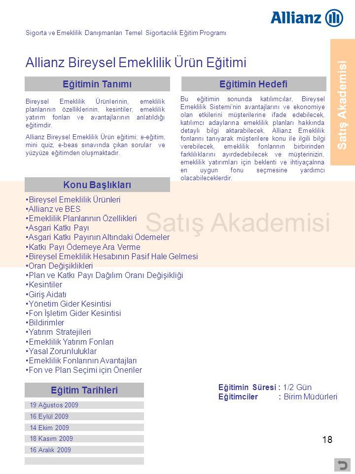 18 Satış Akademisi Allianz Bireysel Emeklilik Ürün Eğitimi •Bireysel Emeklilik Ürünleri •Allianz ve BES •Emeklilik Planlarının Özellikleri •Asgari Kat