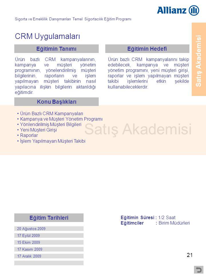 21 Satış Akademisi CRM Uygulamaları • Ürün Bazlı CRM Kampanyaları • Kampanya ve Müşteri Yönetim Programı • Yönlendirilmiş Müşteri Bilgileri • Yeni Müş