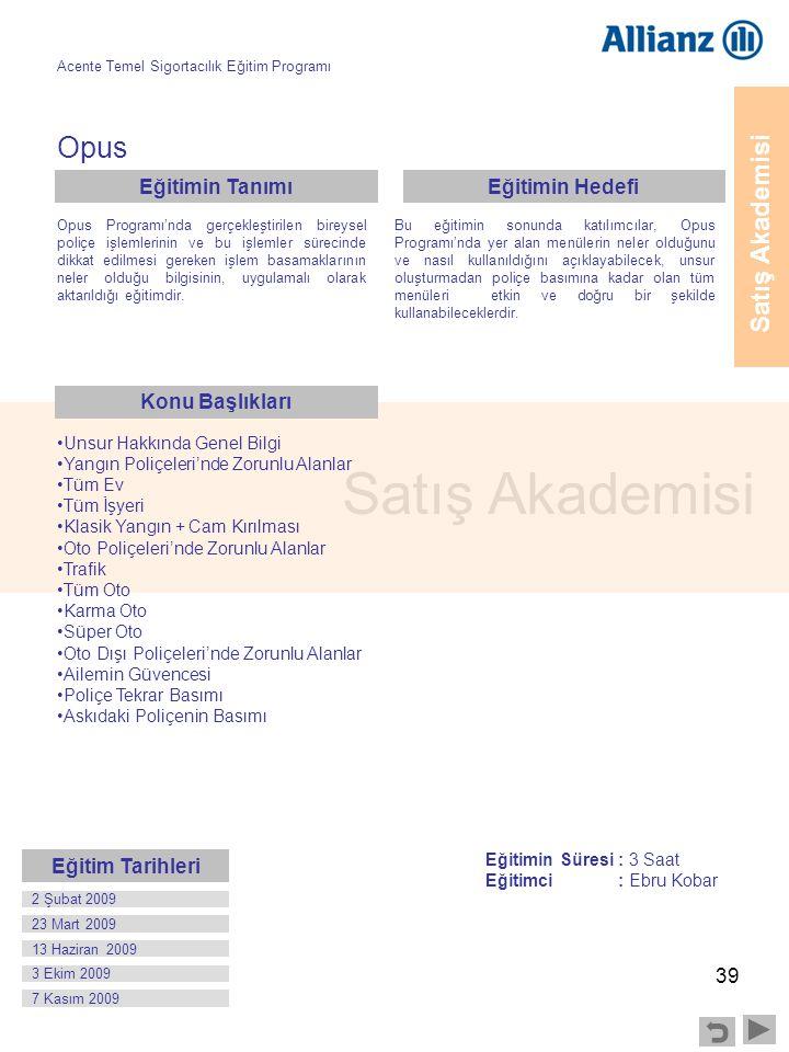 39 Satış Akademisi Opus Opus Programı'nda gerçekleştirilen bireysel poliçe işlemlerinin ve bu işlemler sürecinde dikkat edilmesi gereken işlem basamak