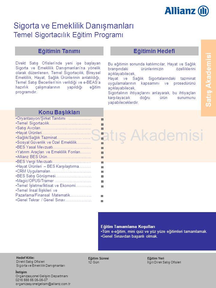 16 Satış Akademisi Bireysel Emeklilik Yasal Mevzuatı Konu Başlıkları 14 Eylül 2009 12 Ekim 2009 17 Ağustos 2009 14 Aralık 2009 16 Kasım 2009 Eğitim Tarihleri Eğitimin Tanımı Eğitimin Hedefi Satış Akademisi Eğitimin Süresi : 1 Gün Eğitimci : Birim Müdürleri Sigorta ve Emeklilik Danışmanları Temel Sigortacılık Eğitim Programı Bireysel Emeklilik Sisteminin, Kanun, Yönetmelik, Genelge ve Tebliğlere dayanarak açıklandığı eğitimdir.