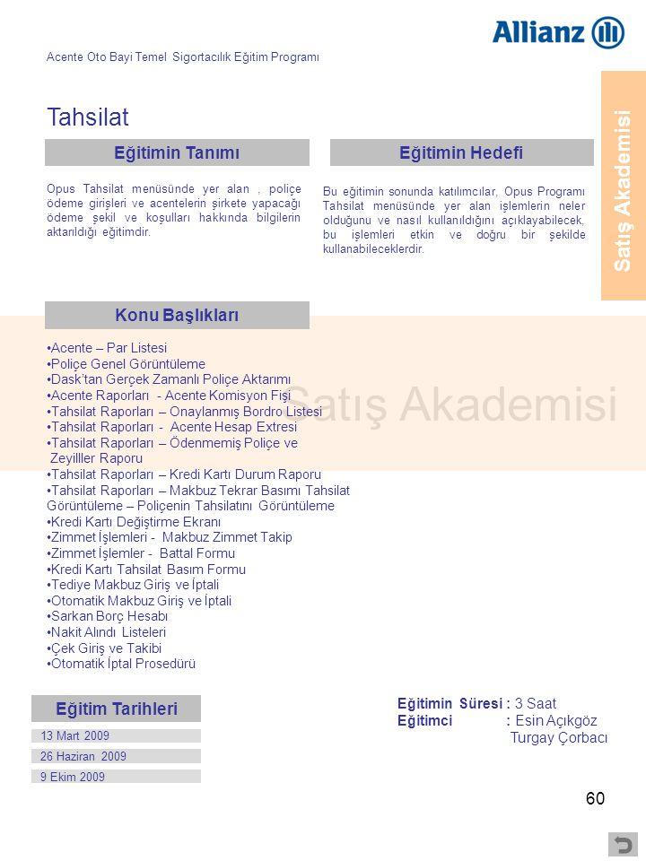 60 Satış Akademisi Tahsilat •Acente – Par Listesi •Poliçe Genel Görüntüleme •Dask'tan Gerçek Zamanlı Poliçe Aktarımı •Acente Raporları - Acente Komisy