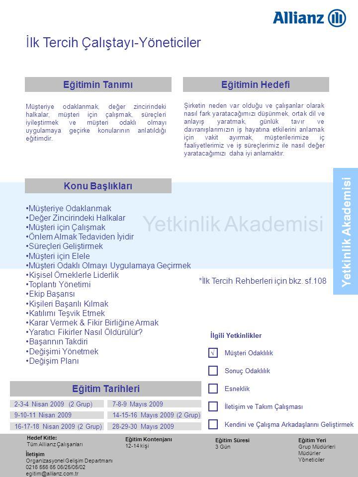 80 Yetkinlik Akademisi İlk Tercih Çalıştayı-Yöneticiler •Müşteriye Odaklanmak •Değer Zincirindeki Halkalar •Müşteri için Çalışmak •Önlem Almak Tedavid