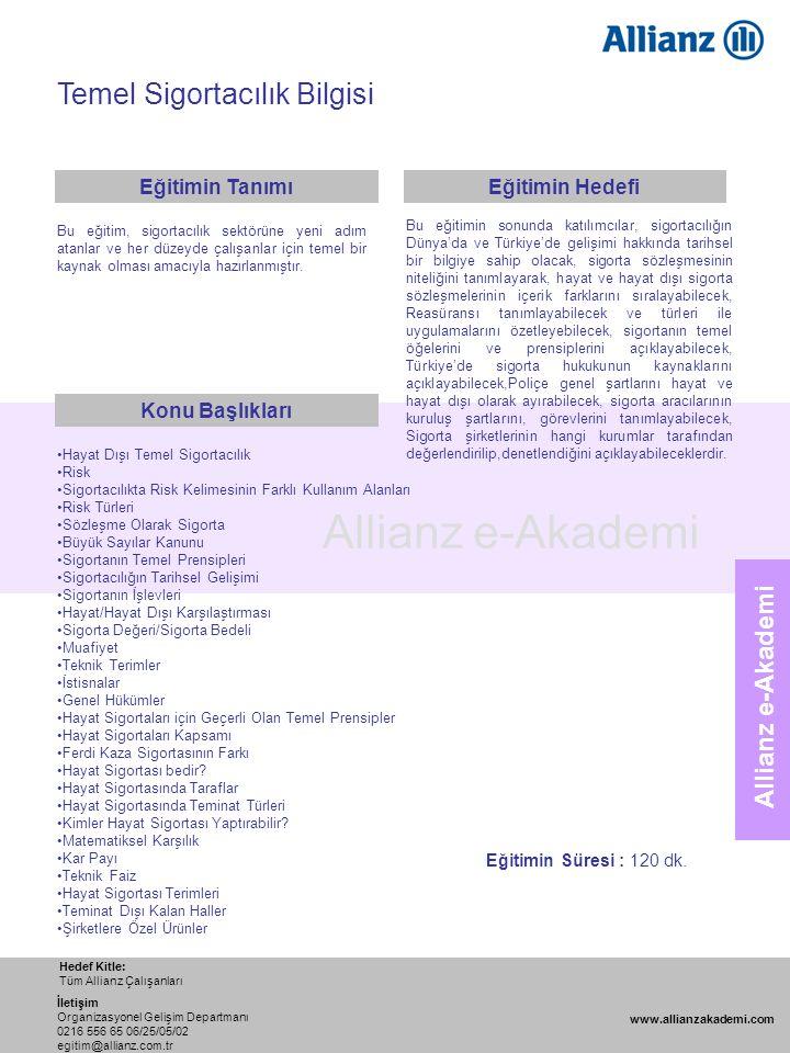 88 Allianz e-Akademi Temel Sigortacılık Bilgisi Hedef Kitle: Tüm Allianz Çalışanları www.allianzakademi.com İletişim Organizasyonel Gelişim Departmanı