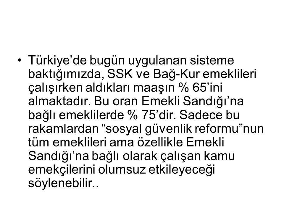 •Türkiye'de bugün uygulanan sisteme baktığımızda, SSK ve Bağ-Kur emeklileri çalışırken aldıkları maaşın % 65'ini almaktadır.