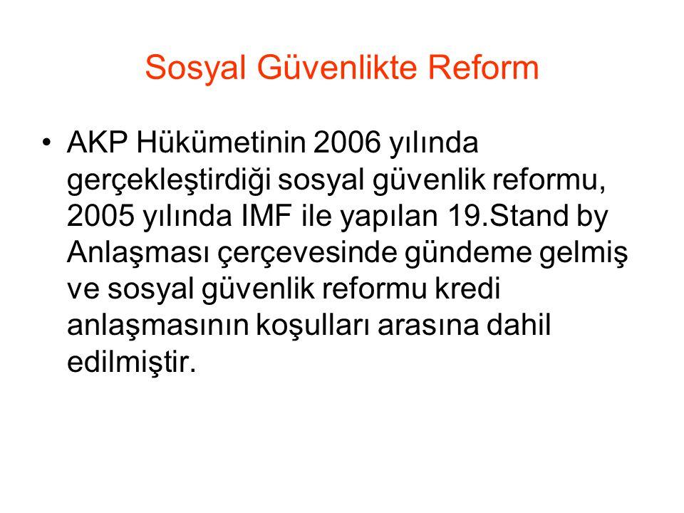 Sosyal Güvenlikte Reform •AKP Hükümetinin 2006 yılında gerçekleştirdiği sosyal güvenlik reformu, 2005 yılında IMF ile yapılan 19.Stand by Anlaşması çerçevesinde gündeme gelmiş ve sosyal güvenlik reformu kredi anlaşmasının koşulları arasına dahil edilmiştir.