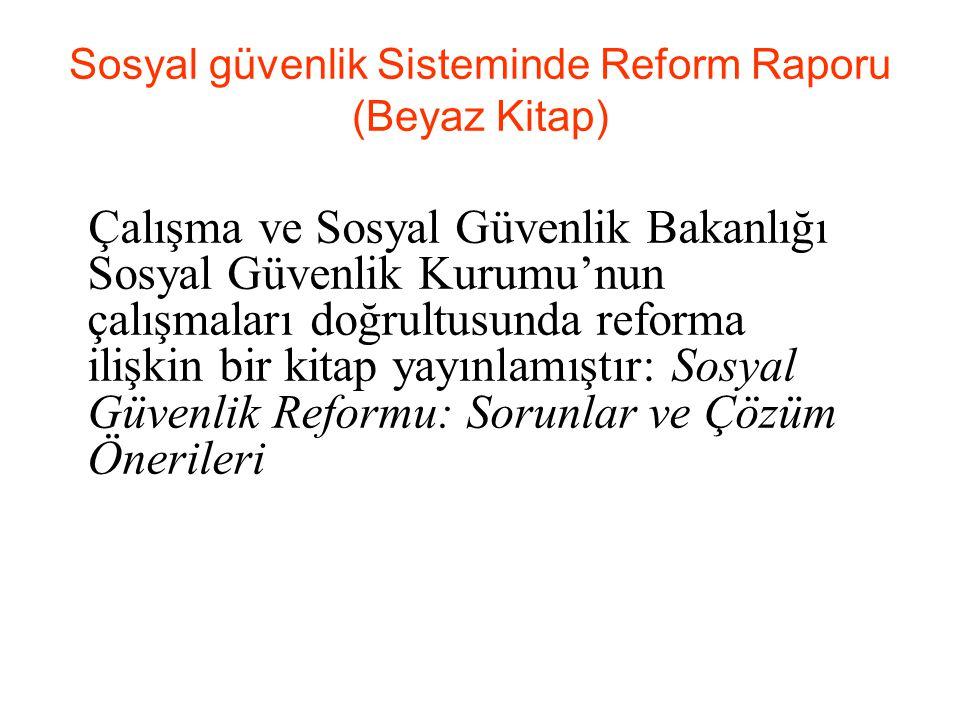 Sosyal güvenlik Sisteminde Reform Raporu (Beyaz Kitap) Çalışma ve Sosyal Güvenlik Bakanlığı Sosyal Güvenlik Kurumu'nun çalışmaları doğrultusunda reforma ilişkin bir kitap yayınlamıştır: Sosyal Güvenlik Reformu: Sorunlar ve Çözüm Önerileri