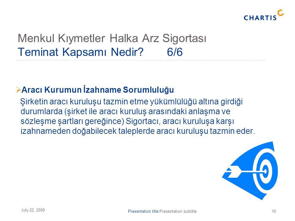 Presentation title Presentation subtitle10 July 22, 2009 Menkul Kıymetler Halka Arz Sigortası Teminat Kapsamı Nedir? 6/6  Aracı Kurumun İzahname Soru