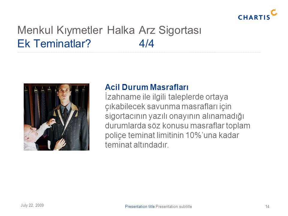 Presentation title Presentation subtitle14 July 22, 2009 Acil Durum Masrafları İzahname ile ilgili taleplerde ortaya çıkabilecek savunma masrafları iç