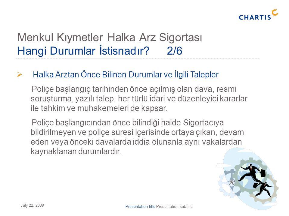 Presentation title Presentation subtitle17 July 22, 2009  Halka Arztan Önce Bilinen Durumlar ve İlgili Talepler Poliçe başlangıç tarihinden önce açıl