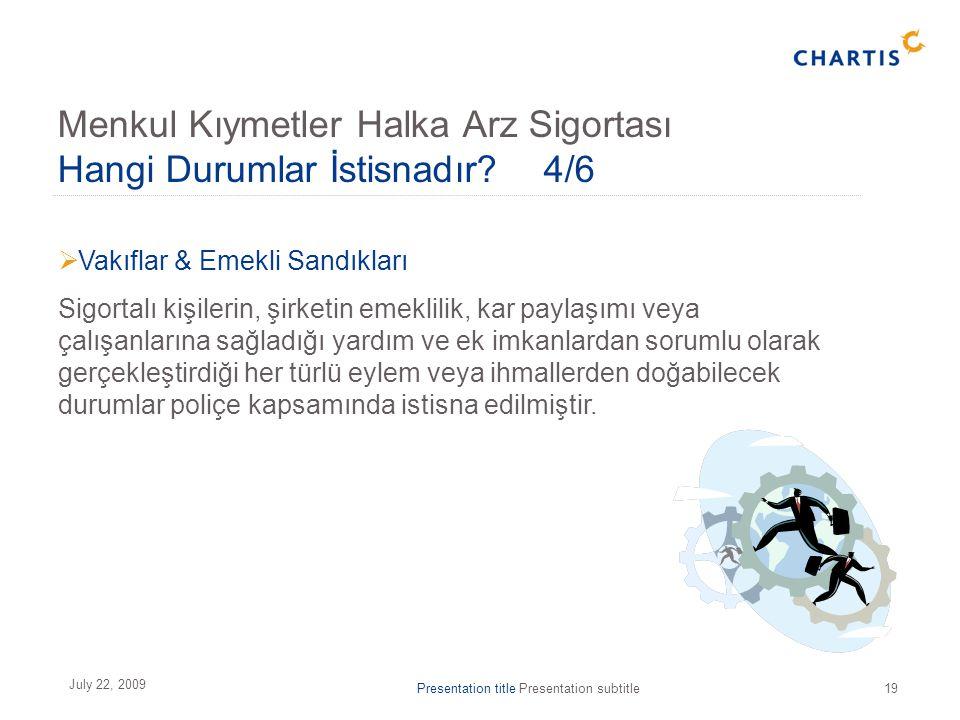 Presentation title Presentation subtitle19 July 22, 2009  Vakıflar & Emekli Sandıkları Sigortalı kişilerin, şirketin emeklilik, kar paylaşımı veya ça