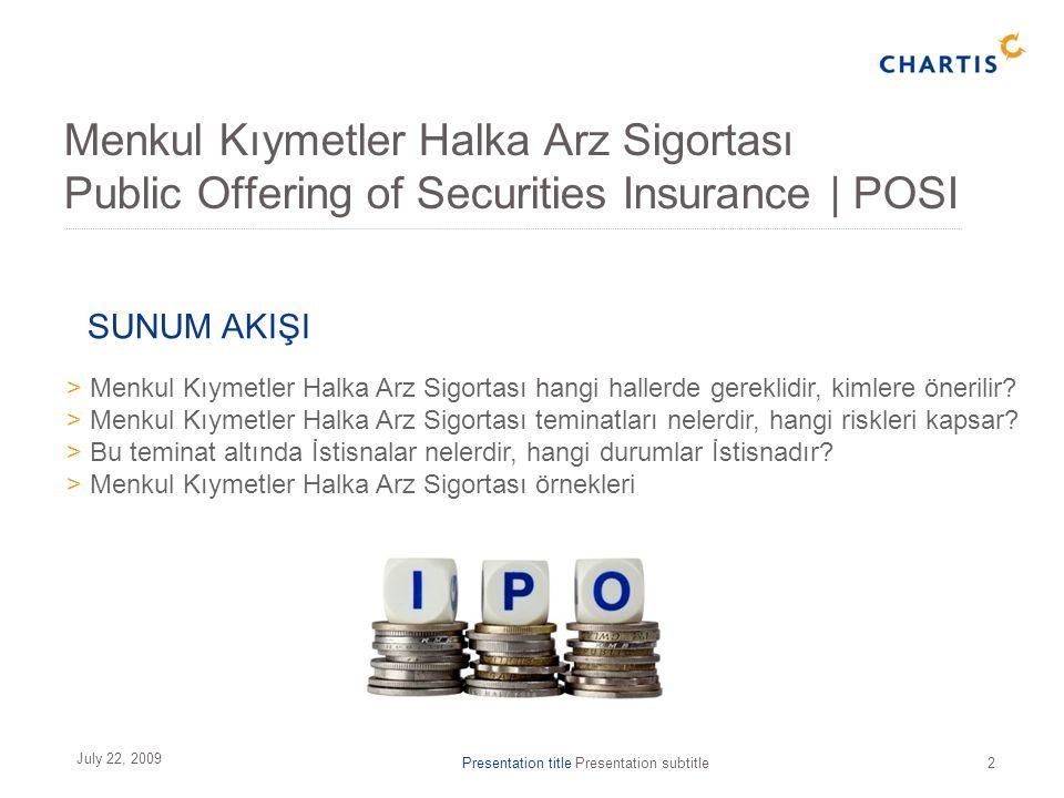 Presentation title Presentation subtitle2 July 22, 2009 > Menkul Kıymetler Halka Arz Sigortası hangi hallerde gereklidir, kimlere önerilir.