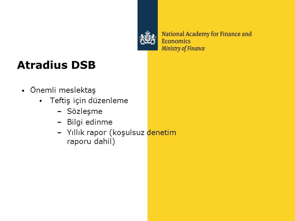 Atradius DSB • Önemli meslektaş Teftiş için düzenleme Sözleşme Bilgi edinme Yıllık rapor (koşulsuz denetim raporu dahil)