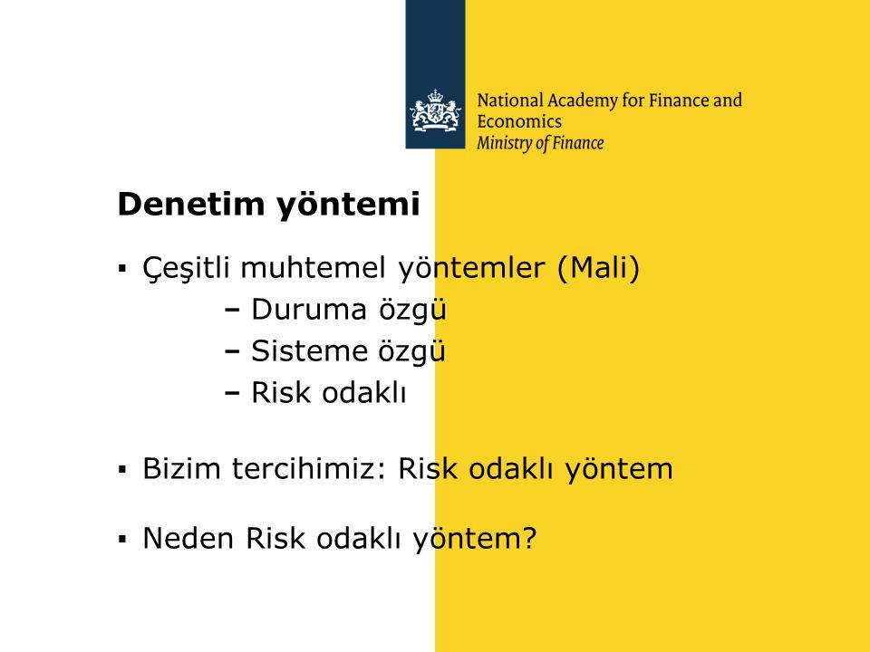 Denetim yöntemi  Çeşitli muhtemel yöntemler (Mali) Duruma özgü Sisteme özgü Risk odaklı  Bizim tercihimiz: Risk odaklı yöntem  Neden Risk odaklı yö