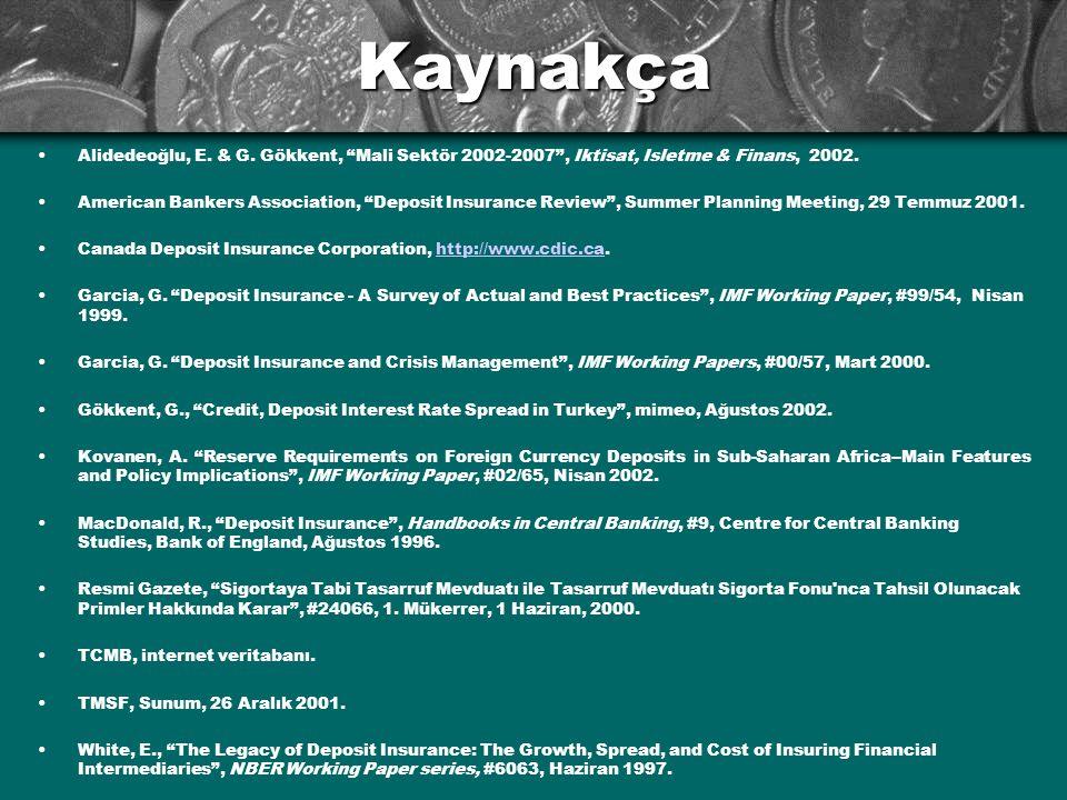 Kaynakça •Alidedeoğlu, E. & G. Gökkent, Mali Sektör 2002-2007 , Iktisat, Isletme & Finans, 2002.