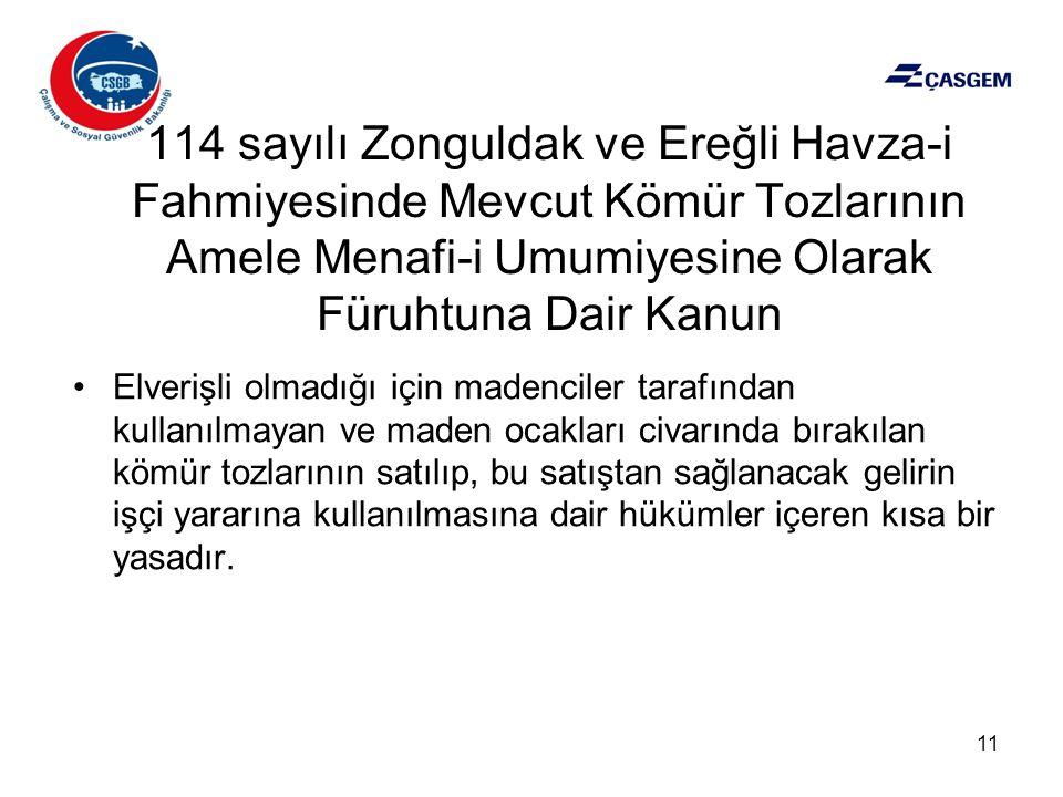 114 sayılı Zonguldak ve Ereğli Havza-i Fahmiyesinde Mevcut Kömür Tozlarının Amele Menafi-i Umumiyesine Olarak Füruhtuna Dair Kanun •Elverişli olmadığı