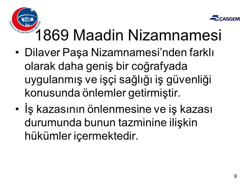 1869 Maadin Nizamnamesi •Dilaver Paşa Nizamnamesi'nden farklı olarak daha geniş bir coğrafyada uygulanmış ve işçi sağlığı iş güvenliği konusunda önlem