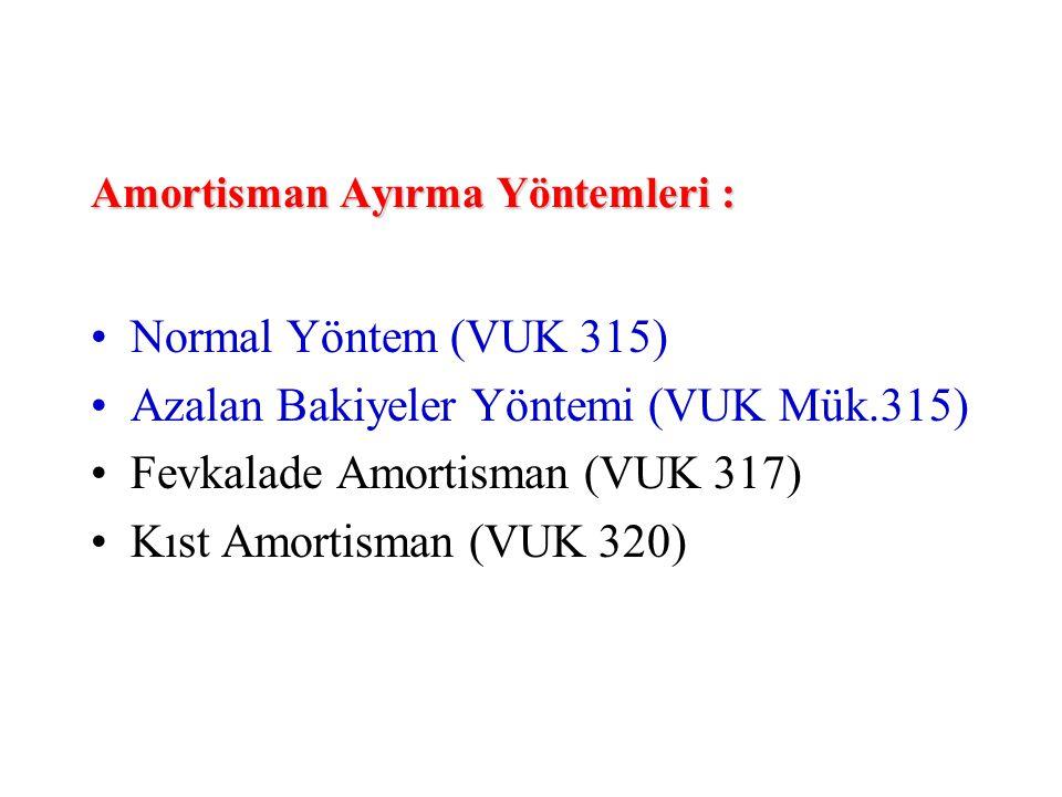Amortisman Ayırma Yöntemleri : •Normal Yöntem (VUK 315) •Azalan Bakiyeler Yöntemi (VUK Mük.315) •Fevkalade Amortisman (VUK 317) •Kıst Amortisman (VUK