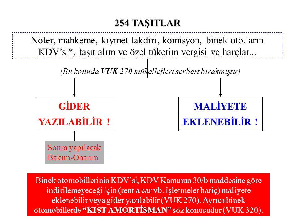 254 TAŞITLAR MALİYETE EKLENEBİLİR .