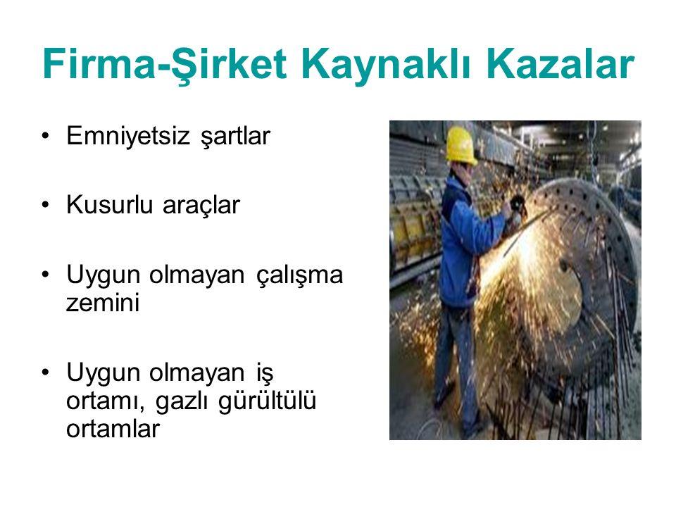 Firma-Şirket Kaynaklı Kazalar •Emniyetsiz şartlar •Kusurlu araçlar •Uygun olmayan çalışma zemini •Uygun olmayan iş ortamı, gazlı gürültülü ortamlar
