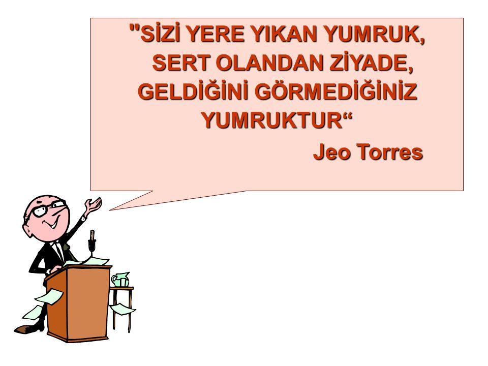 SİZİ YERE YIKAN YUMRUK, SERT OLANDAN ZİYADE, SERT OLANDAN ZİYADE, GELDİĞİNİ GÖRMEDİĞİNİZ YUMRUKTUR Jeo Torres Jeo Torres