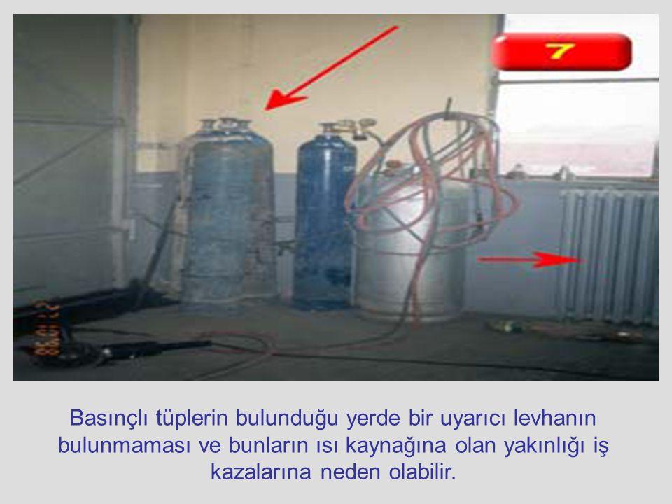 Basınçlı tüplerin bulunduğu yerde bir uyarıcı levhanın bulunmaması ve bunların ısı kaynağına olan yakınlığı iş kazalarına neden olabilir.