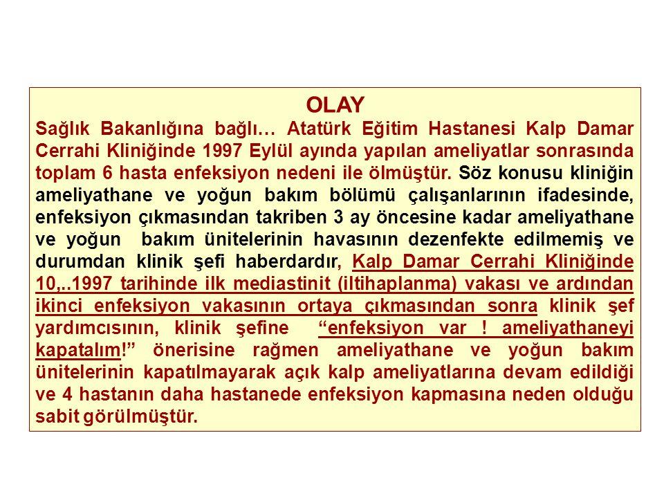 OLAY Sağlık Bakanlığına bağlı… Atatürk Eğitim Hastanesi Kalp Damar Cerrahi Kliniğinde 1997 Eylül ayında yapılan ameliyatlar sonrasında toplam 6 hasta enfeksiyon nedeni ile ölmüştür.