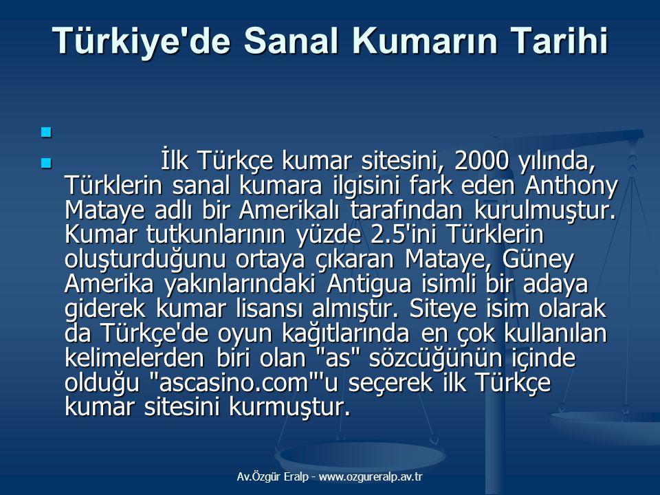 Av.Özgür Eralp - www.ozgureralp.av.tr Türkiye'de Sanal Kumarın Tarihi   İlk Türkçe kumar sitesini, 2000 yılında, Türklerin sanal kumara ilgisini far