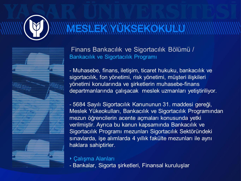 Finans Bankacılık ve Sigortacılık Bölümü / Bankacılık ve Sigortacılık Programı - Muhasebe, finans, iletişim, ticaret hukuku, bankacılık ve sigortacılı