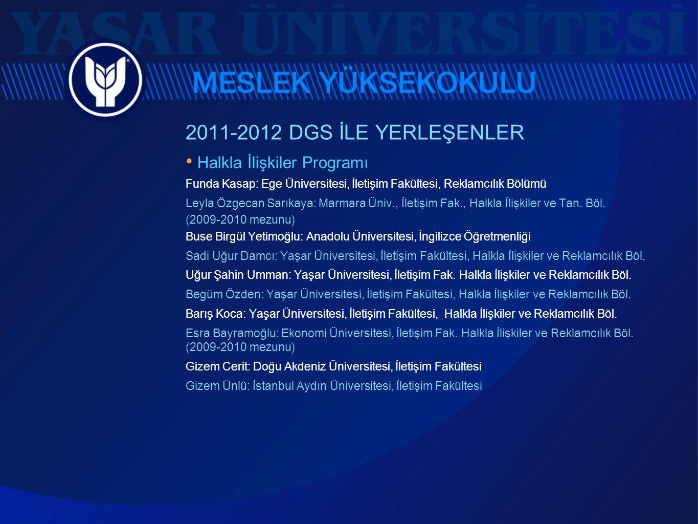 2011-2012 DGS İLE YERLEŞENLER • Halkla İlişkiler Programı Funda Kasap: Ege Üniversitesi, İletişim Fakültesi, Reklamcılık Bölümü Leyla Özgecan Sarıkaya