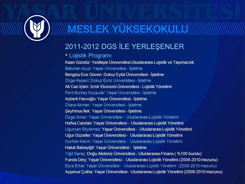 2011-2012 DGS İLE YERLEŞENLER • Lojistik Programı Kaan Gündür: Yeditepe Üniversitesi Uluslararası Lojistik ve Taşımacılık Batuhan Ayuz: Yaşar Üniversi
