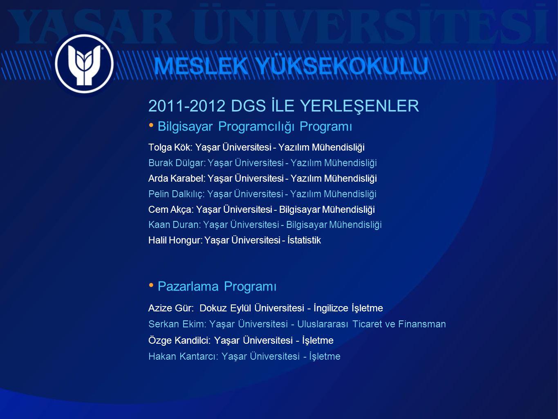 2011-2012 DGS İLE YERLEŞENLER • Bilgisayar Programcılığı Programı Tolga Kök: Yaşar Üniversitesi - Yazılım Mühendisliği Burak Dülgar: Yaşar Üniversites