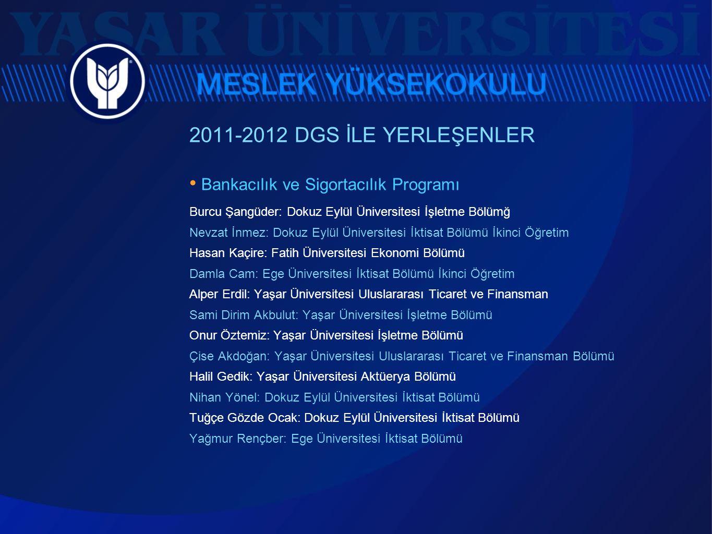 2011-2012 DGS İLE YERLEŞENLER • Bankacılık ve Sigortacılık Programı Burcu Şangüder: Dokuz Eylül Üniversitesi İşletme Bölümğ Nevzat İnmez: Dokuz Eylül