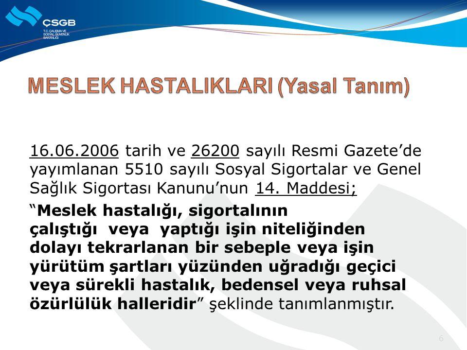 16.06.2006 tarih ve 26200 sayılı Resmi Gazete'de yayımlanan 5510 sayılı Sosyal Sigortalar ve Genel Sağlık Sigortası Kanunu'nun 14.