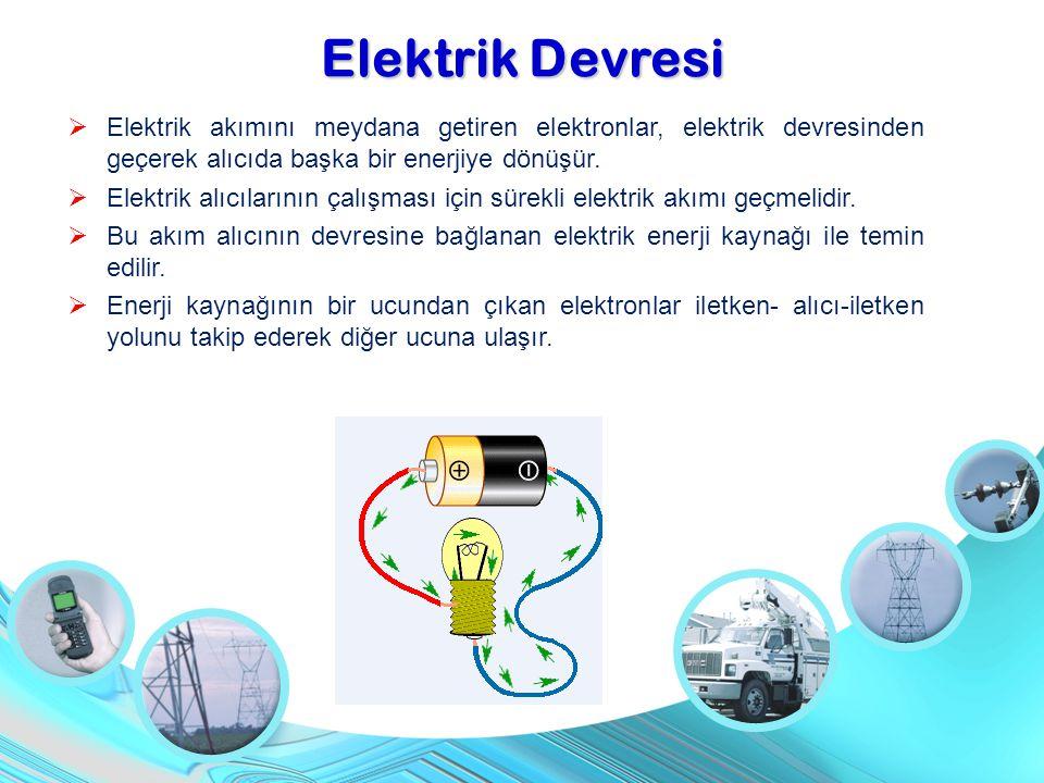 Elektrik Devresi  Elektrik akımını meydana getiren elektronlar, elektrik devresinden geçerek alıcıda başka bir enerjiye dönüşür.  Elektrik alıcıları