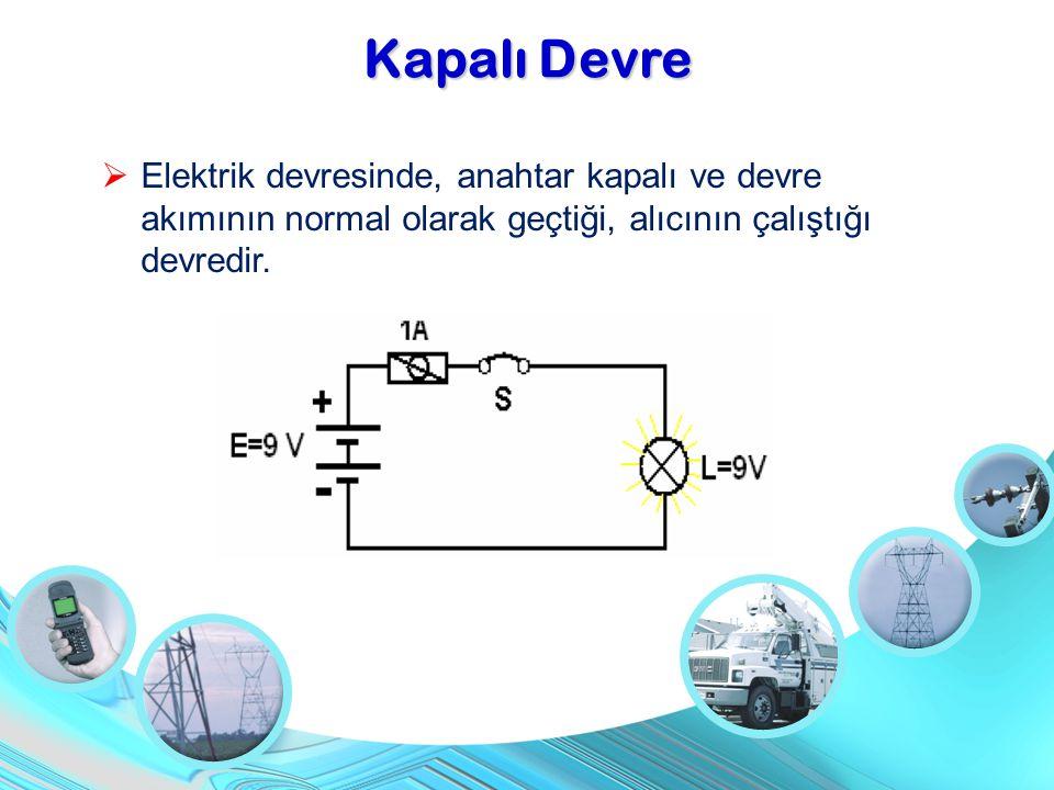 Kapalı Devre  Elektrik devresinde, anahtar kapalı ve devre akımının normal olarak geçtiği, alıcının çalıştığı devredir.