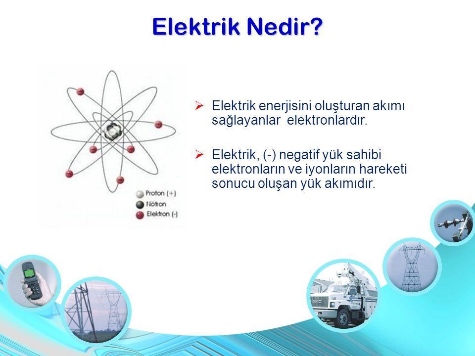  Elektrik enerjisini oluşturan akımı sağlayanlar elektronlardır.  Elektrik, (-) negatif yük sahibi elektronların ve iyonların hareketi sonucu oluşan