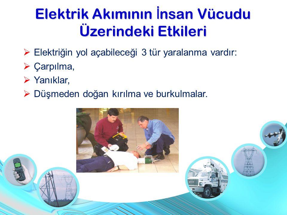  Elektriğin yol açabileceği 3 tür yaralanma vardır:  Çarpılma,  Yanıklar,  Düşmeden doğan kırılma ve burkulmalar. Elektrik Akımının İ nsan Vücudu