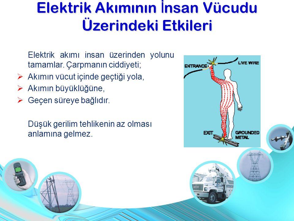 Elektrik akımı insan üzerinden yolunu tamamlar. Çarpmanın ciddiyeti;  Akımın vücut içinde geçtiği yola,  Akımın büyüklüğüne,  Geçen süreye bağlıdır